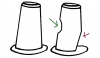 Figure 9: Diagram shows a non-undercut abutment (left), and an abutment (right) that was inadvertently prepared with a divot on its surface (green arrow) and also with an undercut axial slant of the abutment surface (red arrow); temporary material can lock into these undercuts.