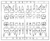 Fig 14. Anatomical Tooth Diagrams with Universal Numbering System (primary dentition). Courtesy of Coldwell Systems, Champaign, IL. 800-637-1140.