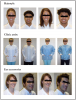 Figure 1. Photographs of male and female dental hygienists depicting professional and unprofessional/less traditional characteristics